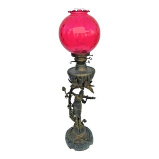 Antique Nouveau Lady Lamp Converted to Electric For Sale
