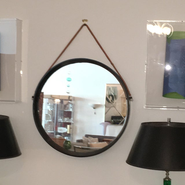 Mid Century Modern Jacques Adnet Style Black Lacquered Mirror with Copper Leather Strap - Image 4 of 8