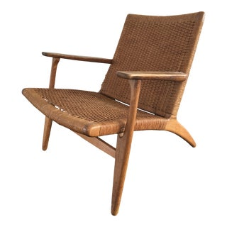 Hans Wegner Mid Century Modern Danish Oak Lounge Chair For Sale
