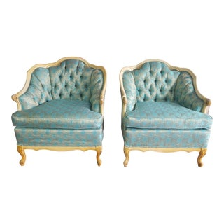 Vintage French Provincial Blue Damask Chairs - a Pair For Sale