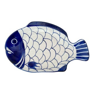 Vintage Blue and White Dansk Arabesque Fish Platter For Sale