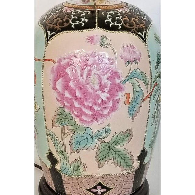 Metal Large Famille Rose Noire Porcelain Chinese Table Lamp Flowers and Leaves For Sale - Image 7 of 13