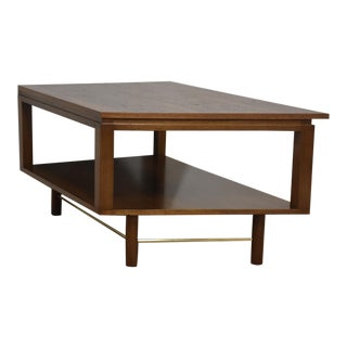 Walnut & Brass Corner End Table or Coffee Table For Sale