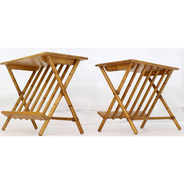 Pair of Faux Burnt Bamboo X-Base Rectangular Side End Tables With Magazine Rack For Sale - Image 12 of 12
