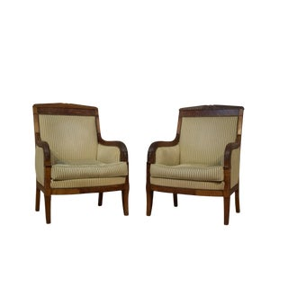 19th Century Empire Walnut Chairs - Pair For Sale