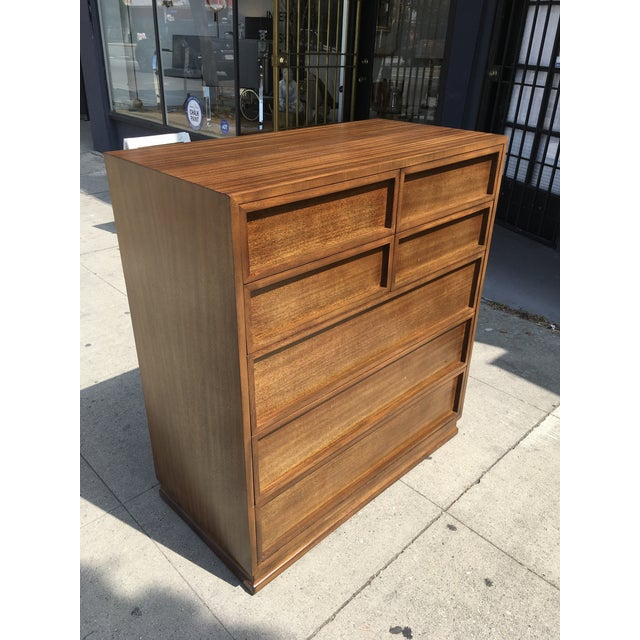 1950s Mid Century Modern Triangle Brand Mahogany Highboy For Sale - Image 12 of 12