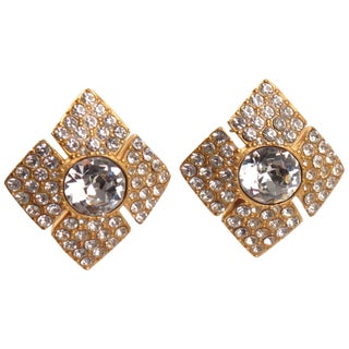 Christian Dior Paris Signed Clip on Earrings Clear Rhinestones Jeweled Paved For Sale