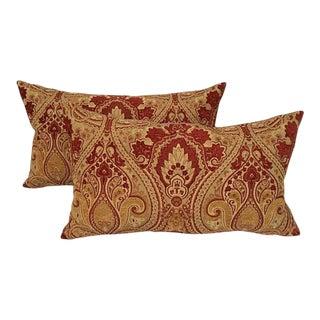 Decorative Holiday Velvet Fleur De Lis Pillows - a Pair For Sale