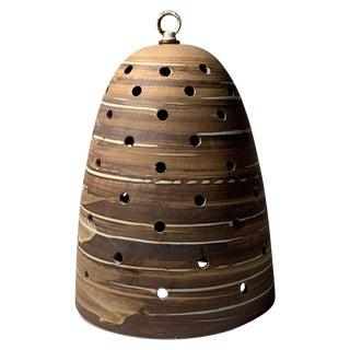 Rare Martz Hanging Ceramic Pendant Swirl Glaze Shade Lamp Marshall Studios For Sale