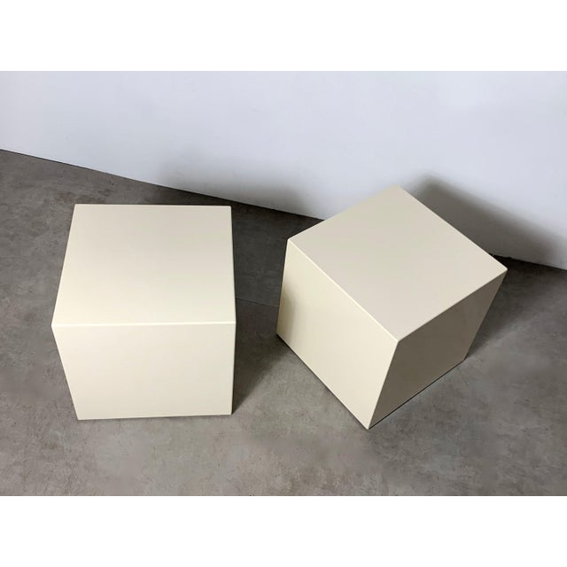1970s 1970s Modern Lacquered White Cube Side Tables- A Pair For Sale - Image 5 of 11
