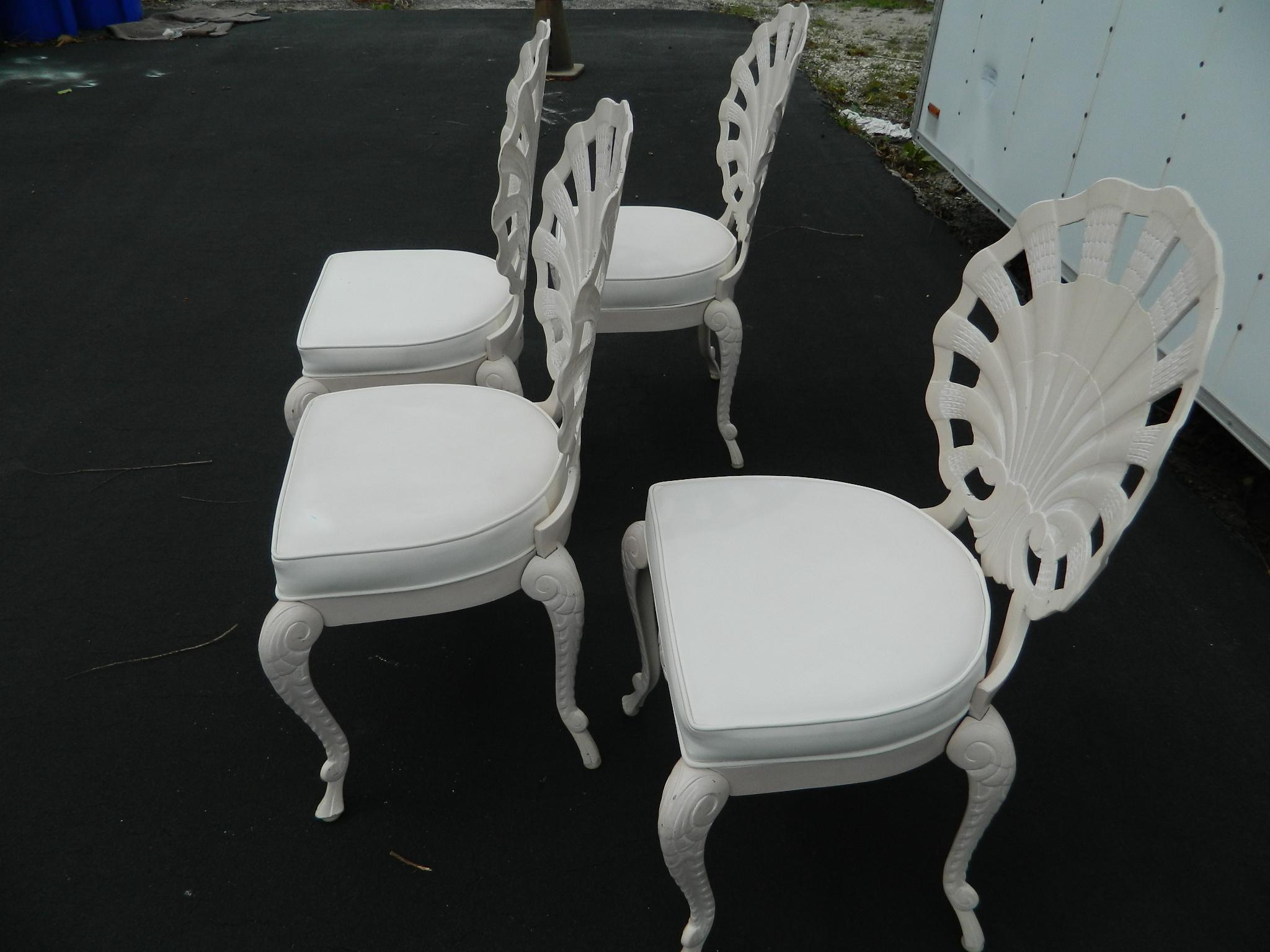Vintage Cast Aluminum Shell Back Grotto Chairs   Set Of 4   Image 4 Of 11