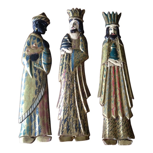 Folk Art Wooden Three Kings Wall Hangings - Set of 3 - Image 1 of 11