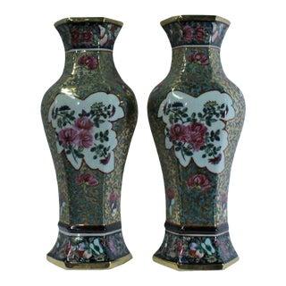 Pair Ceramic Golden Base Enamel Flower Half Hexagon Wall Vases For Sale