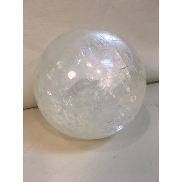 Selenite Orb on Brass Stand For Sale - Image 4 of 9