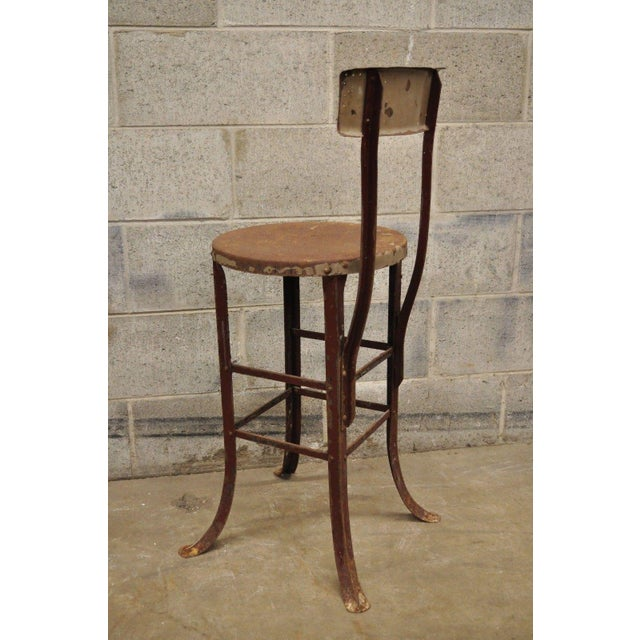 Antique Steel Metal Industrial Drafting Architect Work Stool For Sale - Image 10 of 12