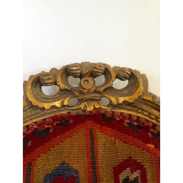 Brass Amazing French Arm Chair Covered in an Antique Turkish Kilim Fabric For Sale - Image 7 of 11