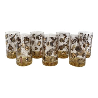 Vintage Norma Jean Wright 24k Gold Glasses - Set of 7 For Sale