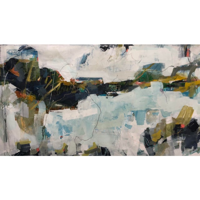 50x90 Mixed Media Abstract Seascape Menorca Spain Unstretched Canvas by Donna Weathers For Sale