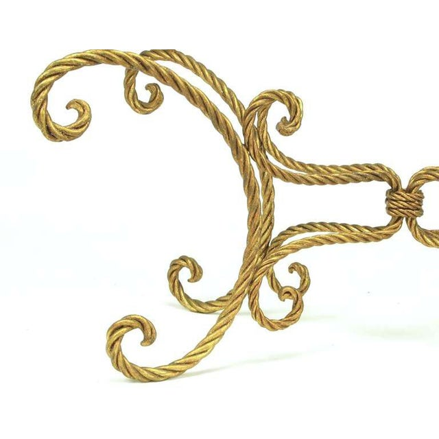 1960s Oval Italian Gilt Braided Metal Rope Coffee Table For Sale - Image 5 of 8