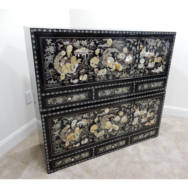 Chinese Mother of Pearl Inlaid Lacquered Cabinet For Sale - Image 5 of 11