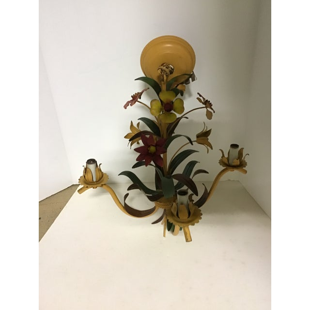Mid 20th Century French Tole Ware Hand Painted Chandelier For Sale - Image 5 of 8