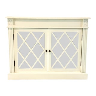 Transitional White Wood Mirrored Door Cabinet For Sale