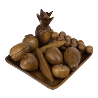 Mid-Century Modern Wooden Fruit Bowl & Figurines - Set of 11 For Sale