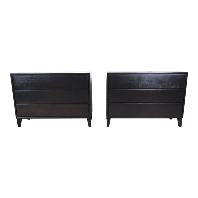 Russel Wright for Conant Ball American Modern Ebonized Three-Drawer Bachelor Chests / Nightstands - a Pair For Sale