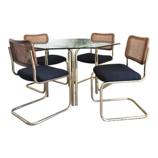 1970s Mid-Century Modern Brass Dining Set - 5 Pieces For Sale