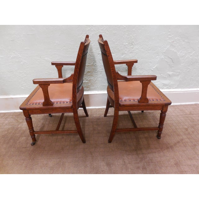 Antique Victorian Oak Dining Chairs - Set of 4 - Image 5 of 10