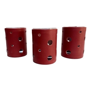 Red Leather Votive Candle Holders - Set of 3 For Sale