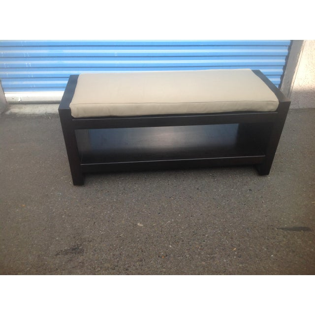 2010s Modern Ottoman With Leather Cushion For Sale - Image 5 of 5