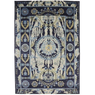 Contemporary Suzani Style Area Rug - 9′7″ × 13′10″ For Sale