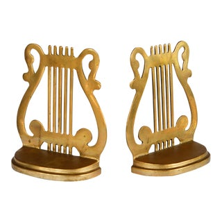 Vintage Brass Musical Harp Bookends - a Pair For Sale