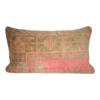 Distressed Turkish Rug Pillow Cover, Low Pile Lumbar Cushion Cover From Anatolian 16'' X 30'' (40 X 75 Cm) For Sale
