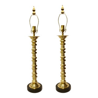 Currey & Co. Fine Polished Brass Modern Candlestick Table Lamps Pair For Sale