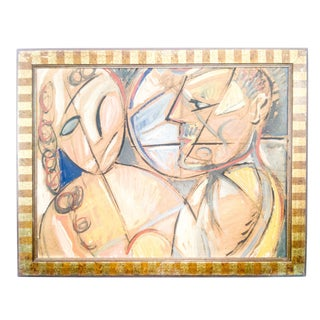 Cubist Portrait of Man and Woman Oil Painting For Sale