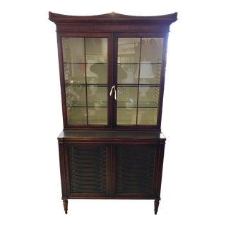 Dark Walnut and Leather Two-Piece Breakfront Rinfret Greenwich, Ct China Cabinet For Sale
