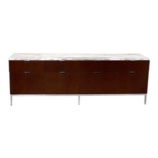 Knoll Walnut Credenza With Carrara Marble Top For Sale