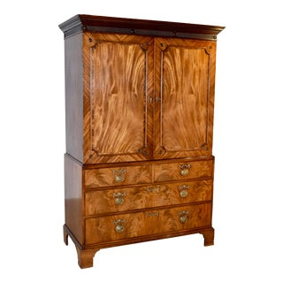 19th Century English Mahogany Linen Press For Sale