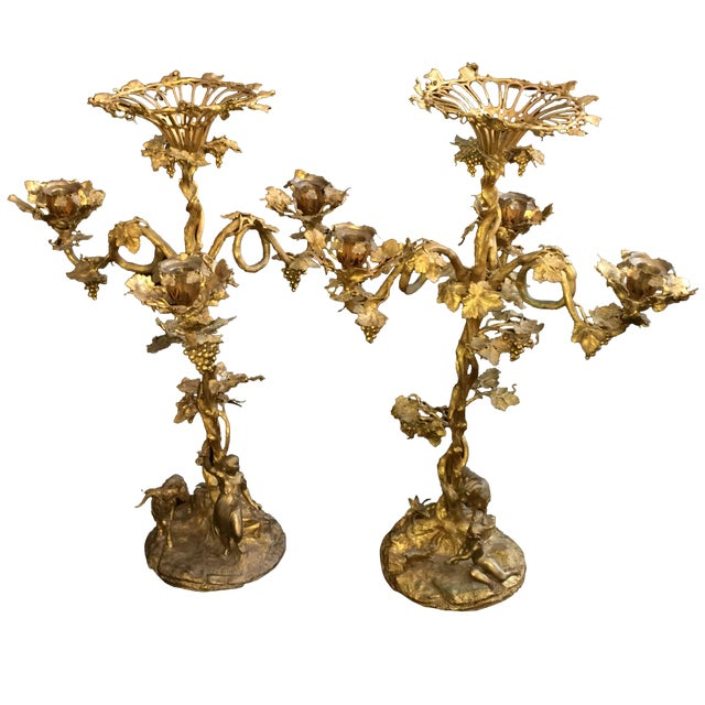 Fired Gilt Vineyard Candelabras - A Pair - Image 1 of 9