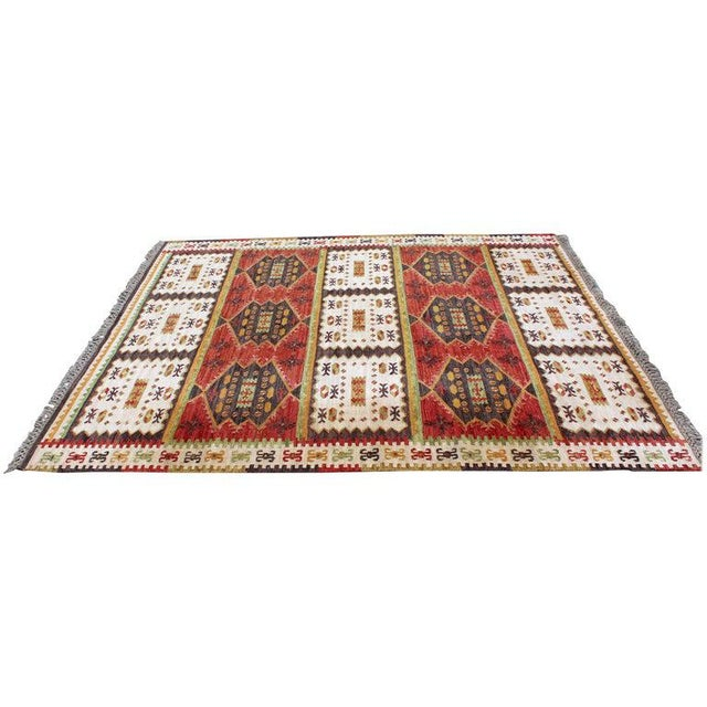 Mid-Century Modern Rectangular Danish Area Rug 1960s Red Green Yellow For Sale In Detroit - Image 6 of 6