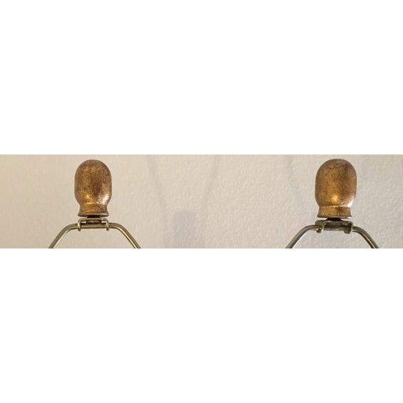 Yellow Mid Century Ceramic Lamps - Pair - Image 6 of 6