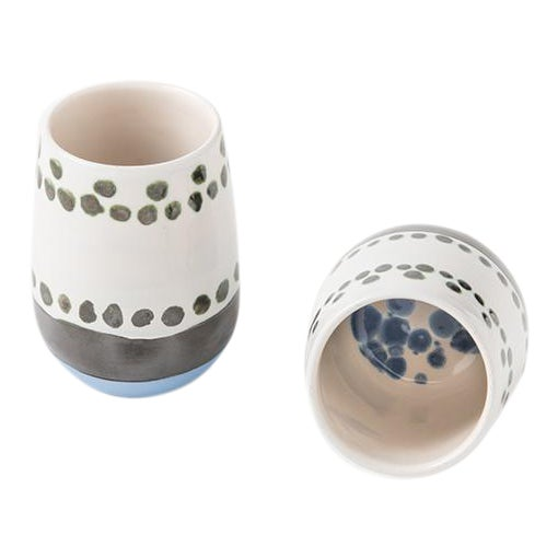 Maya Hand Painted Ceramic Mugs (set of two) For Sale