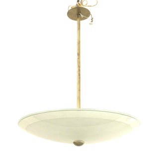 Italian 1940s Large Frosted Glass Circular Shade Pendant For Sale