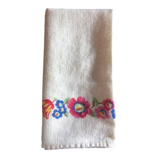 Vintage Colorful Flowered Napkins - Set of 6 For Sale