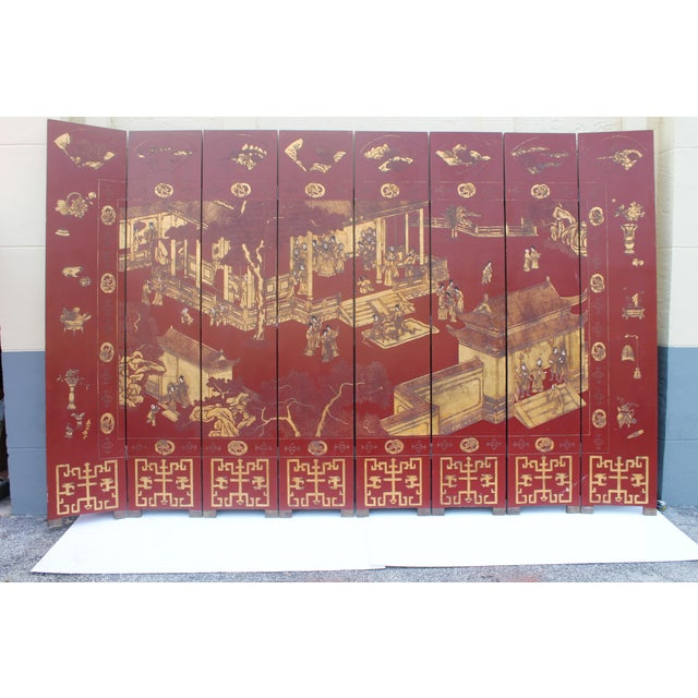 Asian Antique Traditional 8-Panel Red & 24k Gold Asian Screen For Sale - Image 3 of 11