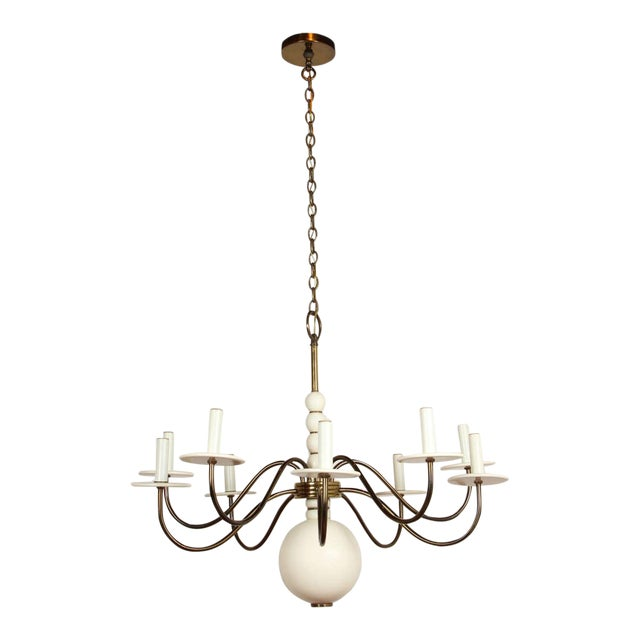 1960s Wood and Brass Chandelier For Sale