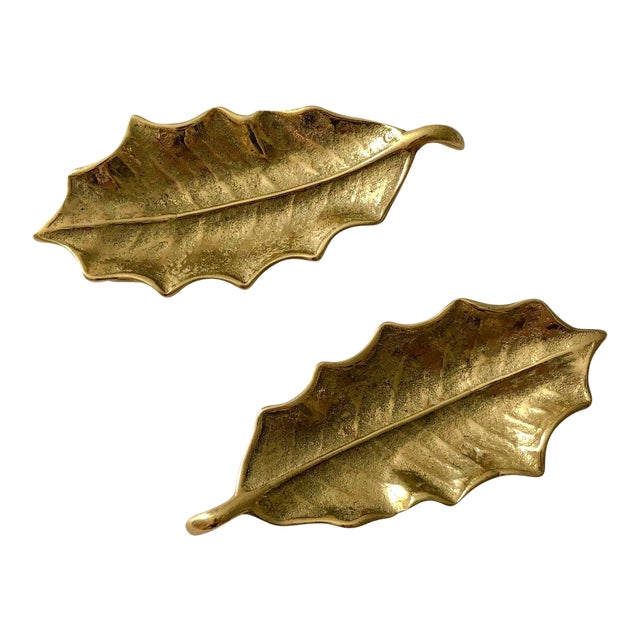 Virginia Metalcrafters Brass Holly Leaves, Pair For Sale