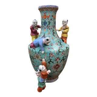 19th Century Chinese Five Boys Vase For Sale